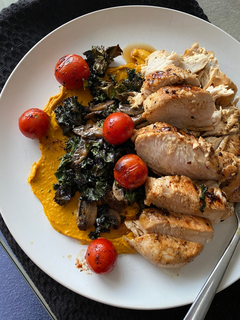 Moroccan-Spiced Chicken Breast with Kale and Mushrooms on Sweet Potato Mash