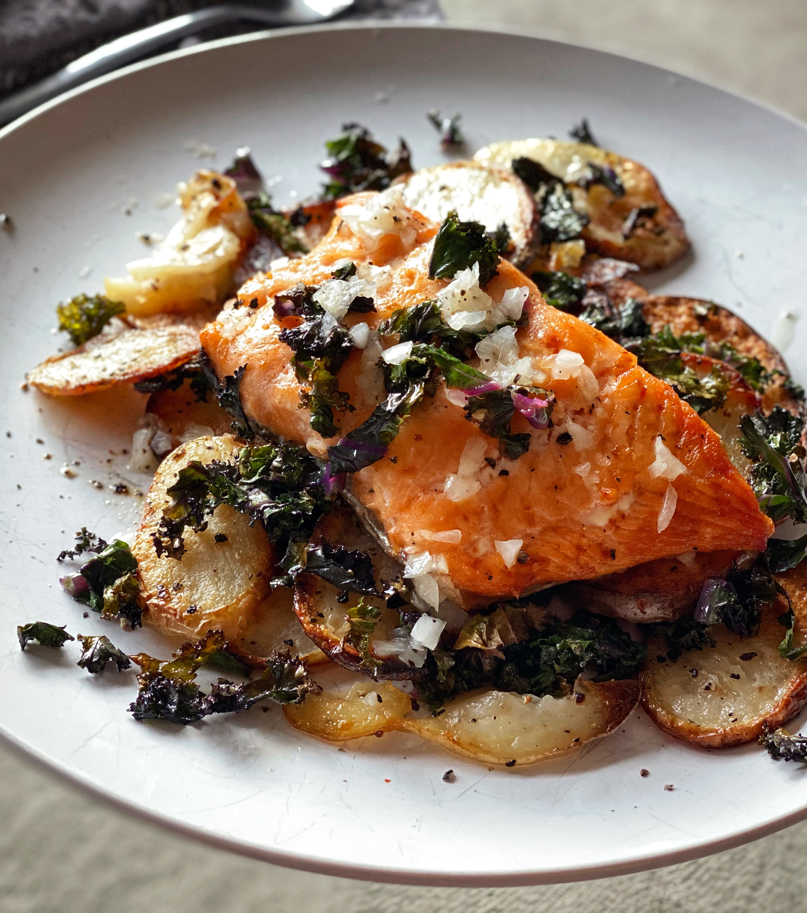Roasted Salmon, Potatoes & Kale