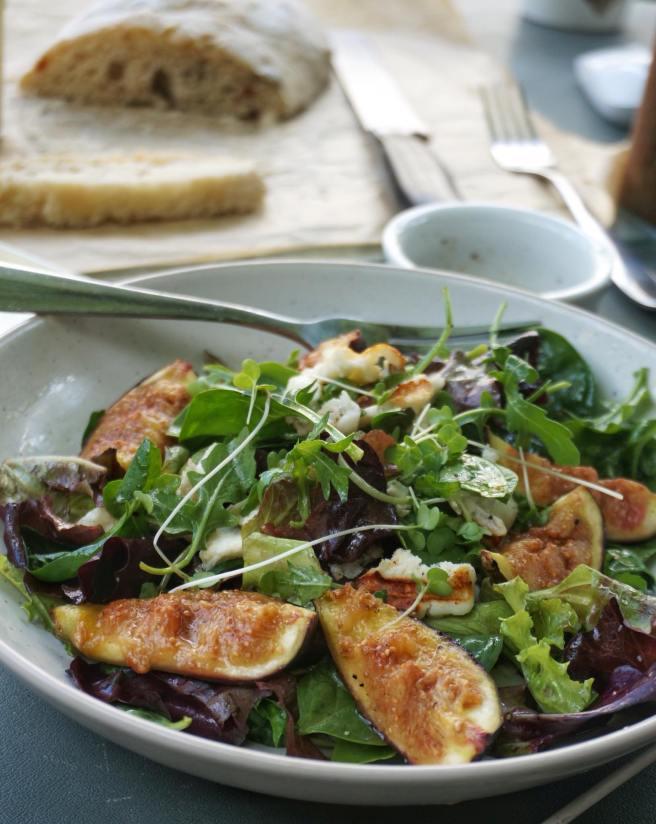Fig and Halloumi Salad with Lemon Balsamic Dressing